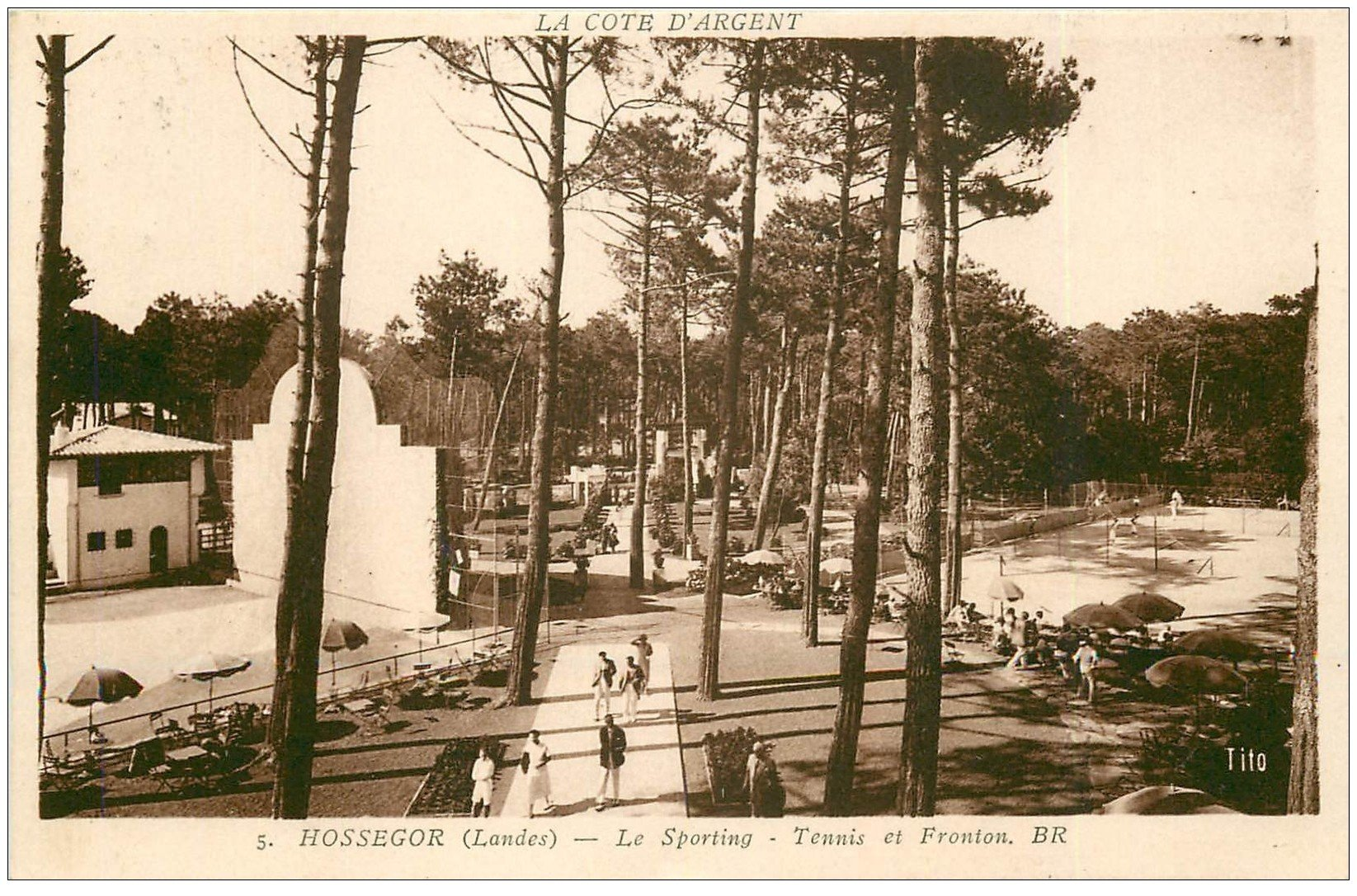 carte postale ancienne 40 HOSSEGOR. Sporting. Tennis et Fronton 1949