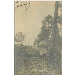 carte postale ancienne 40 LANDES. Berger sur échasses 1902. Vieux métiers Campagne. Comme carte-photo