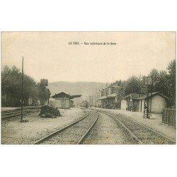 carte postale ancienne 07 LE TEIL. Train entrant dans la Gare vers 1914