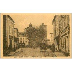 carte postale ancienne 40 SAINT-SEVER-SUR-ADOUR. Place des Platanes