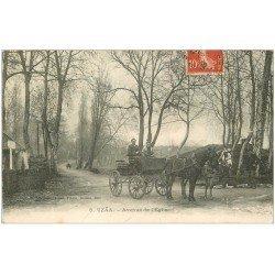 carte postale ancienne 40 UZAA. Attelage Avenue de l'Eglise 1908