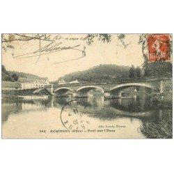 carte postale ancienne 27 ACQUIGNY. Pont sur l'Eure 1911