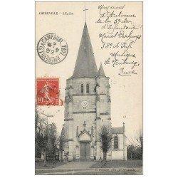 carte postale ancienne 27 AMFREVILLE-LA-CAMPAGNE. L'Eglise 1912