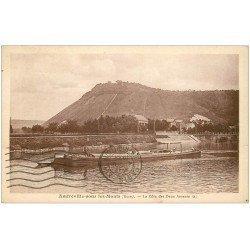 carte postale ancienne 27 AMFREVILLE-SOUS-LES-MONTS. Côte des des Deux Amants 1938 et Péniche
