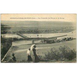 carte postale ancienne 27 AMFREVILLE-SOUS-LES-MONTS. Ecluses et Barrage avec Elégantes en ombrelle