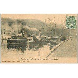 carte postale ancienne 27 AMFREVILLE-SOUS-LES-MONTS. Ecluses et Bateau sur la Seine 1907