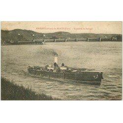carte postale ancienne 27 AMFREVILLE-SOUS-LES-MONTS. Le Barrage et Bateau 1915