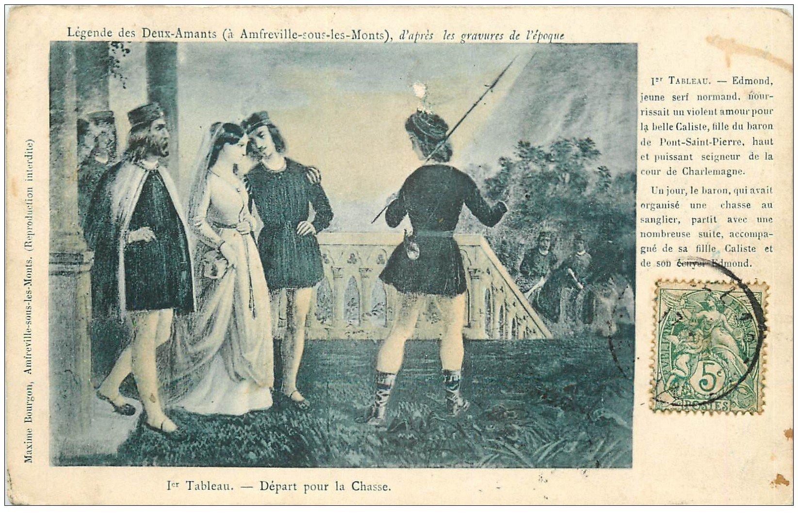 carte postale ancienne 27 AMFREVILLE-SOUS-LES-MONTS. Légende des Deux Amants. Départ pour la Chasse 1907