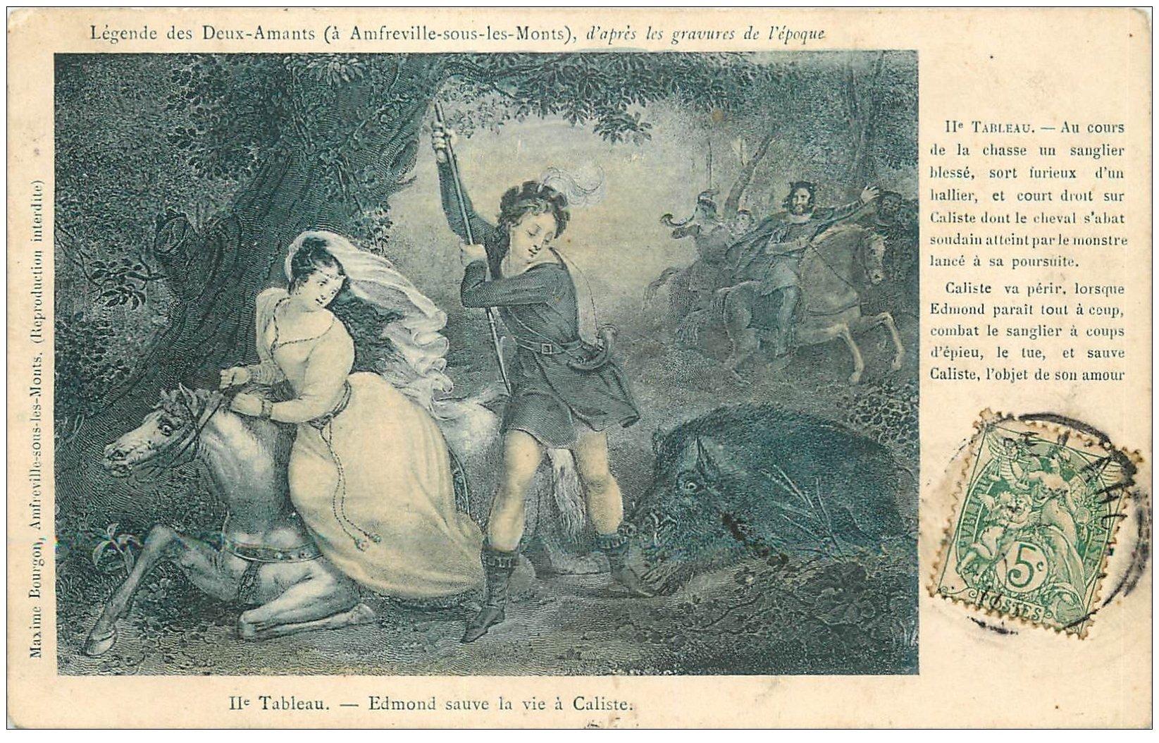 carte postale ancienne 27 AMFREVILLE-SOUS-LES-MONTS. Légende des Deux Amants. Edmond sauve Caliste 1907