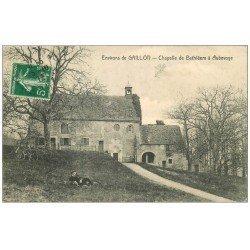 carte postale ancienne 27 AUBEVOYE. Chapelle de Bethléem animation 1912