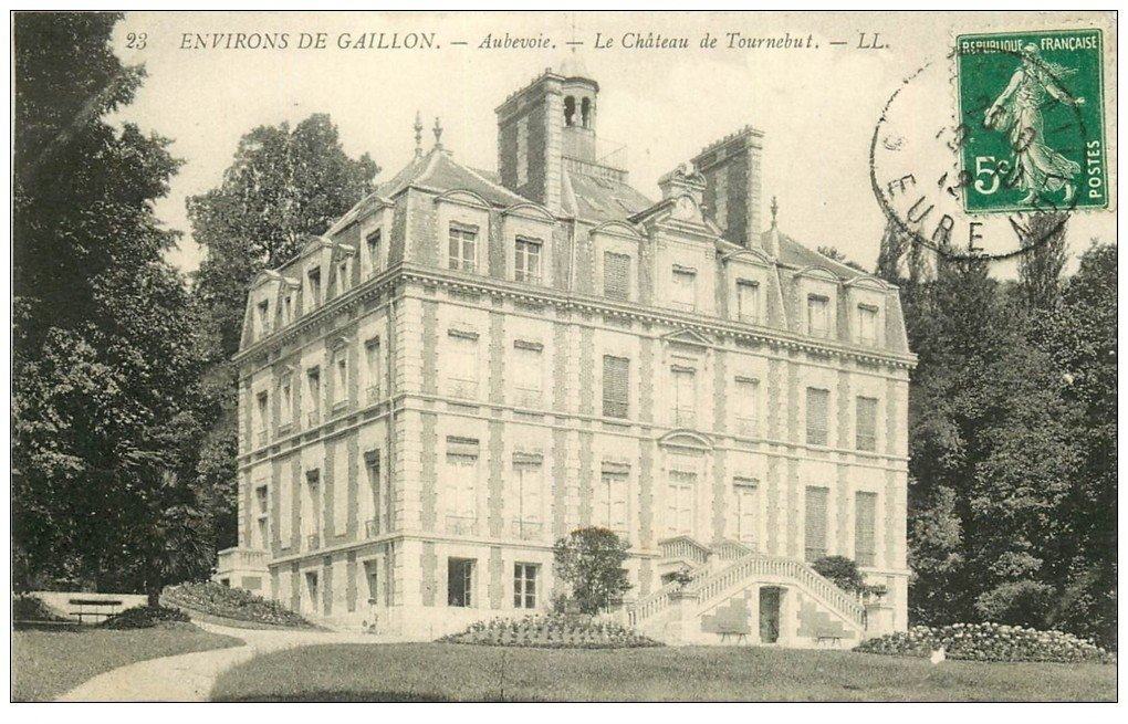 carte postale ancienne 27 AUBEVOYE. Château de Tournebut 1912
