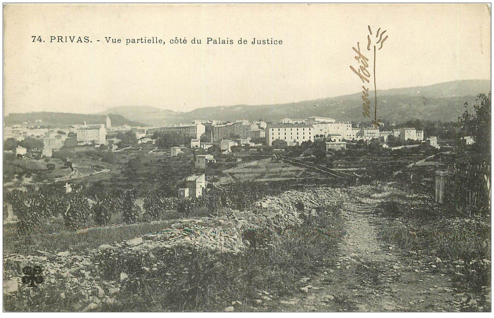 carte postale ancienne 07 PRIVAS. Côté Palais de Justice 1927
