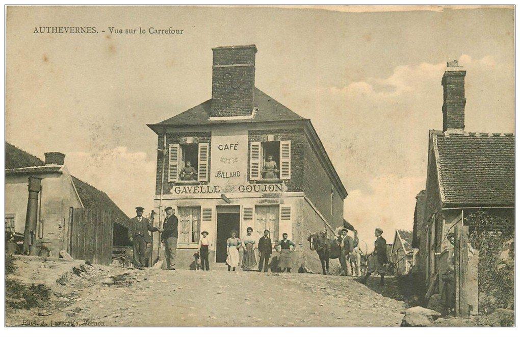 carte postale ancienne 27 AUTHEVERNES. Café Billard Gavelle Goujon au Carrefour