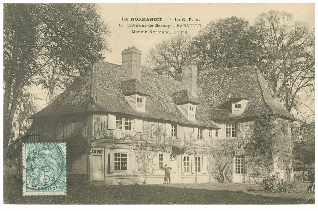 carte postale ancienne 27 BARVILLE. Manoir Normand 1905 animation