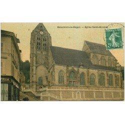 carte postale ancienne 27 BEAUMONT-LE-ROGER. Eglise Saint-Nicolas et Café de la Paix. Superbe carte toilée 1909 pour le Neubourg
