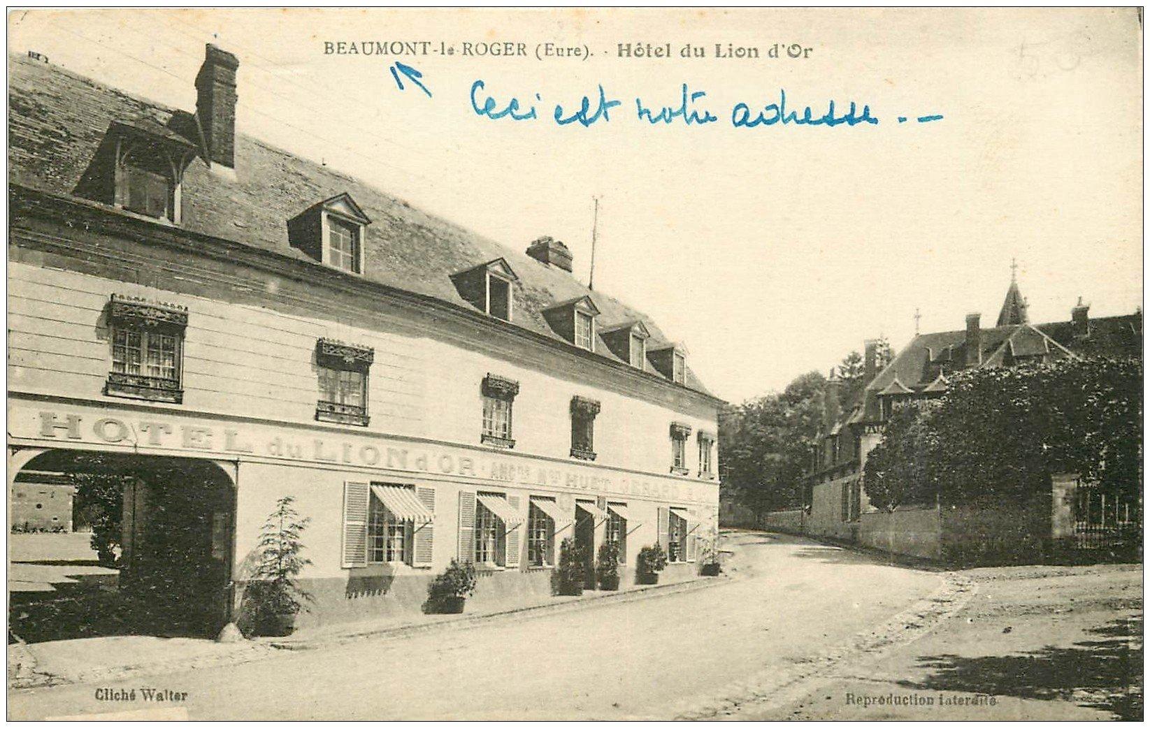 carte postale ancienne 27 BEAUMONT-LE-ROGER. Hôtel du Lion d'Or