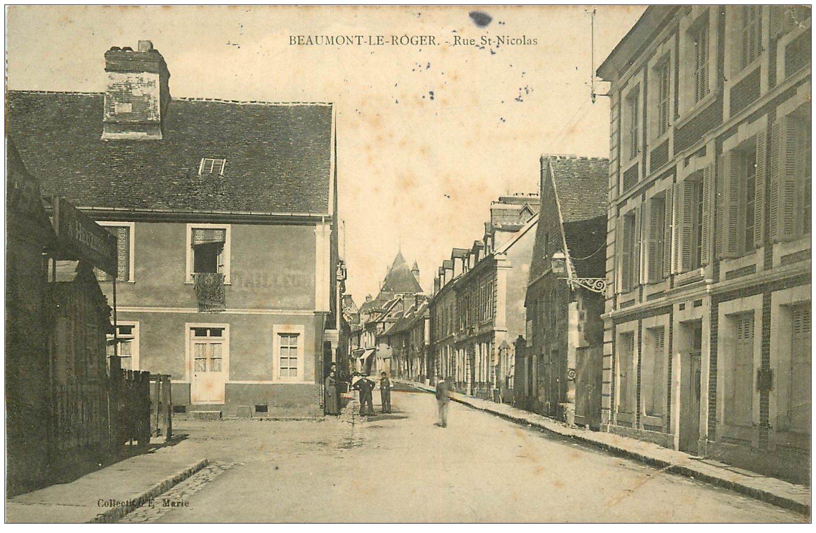 carte postale ancienne 27 BEAUMONT-LE-ROGER. rue Saint-Nicolas 1907 Tailleur