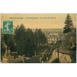 carte postale ancienne 27 BEAUMONT-LE-ROGER. Villa Marguerite. Superbe carte toilée 1909 pour le Neubourg