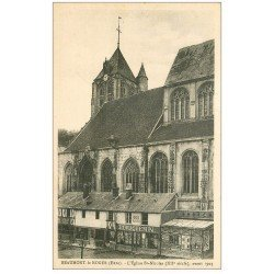 carte postale ancienne 27 BEAUMONT-LE-ROGER. Eglise et magasin Fourquemin