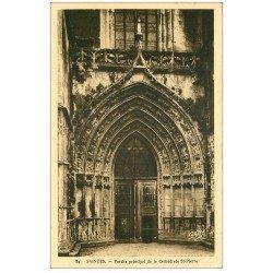 carte postale ancienne 27 BERNAY. Cathédrale Saint-Pierre Porche