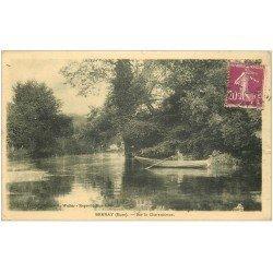 carte postale ancienne 27 BERNAY. Charentonne Rameur sur barque 1932