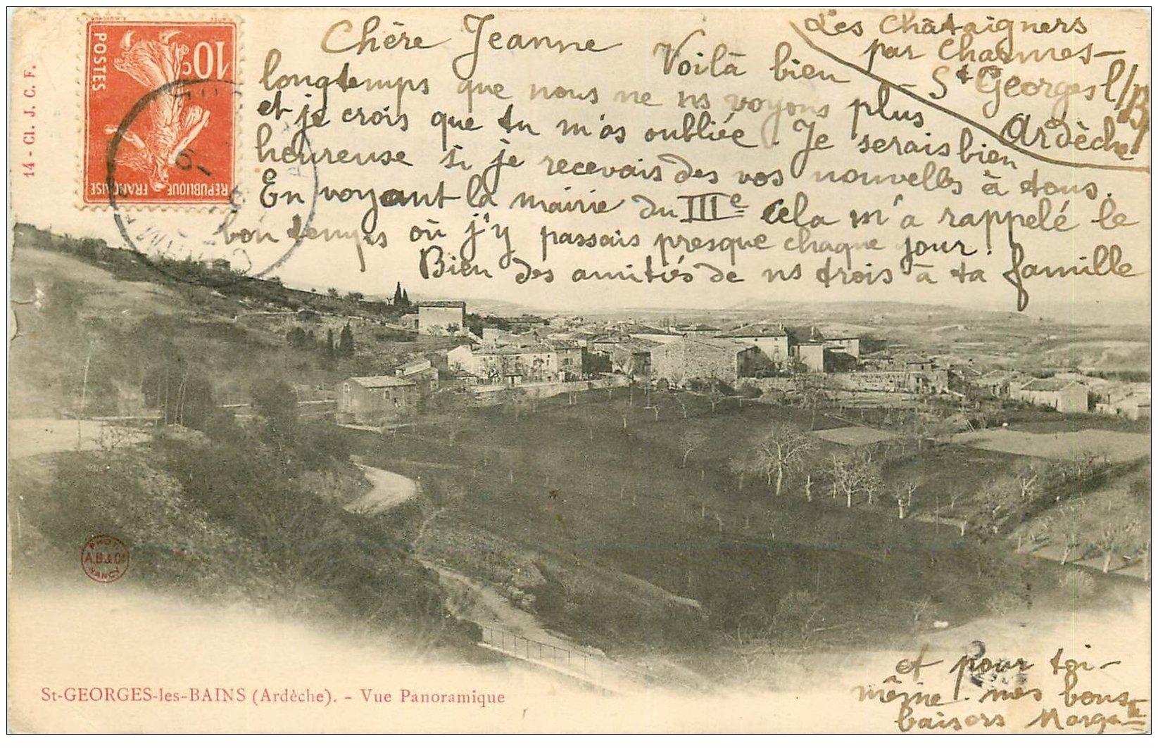 carte postale ancienne 07 SAINT-GEORGES-LES-BAINS. Le Village vers 1903