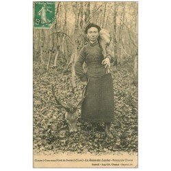 carte postale ancienne 27 BRETEUIL. Chasse à Courre en Forêt la Reinre des Landes avec Cerf vers 1915