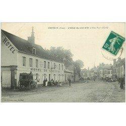 carte postale ancienne 27 BRETEUIL. Diligence Hôtel du Lion d'or rue Urclé 1910