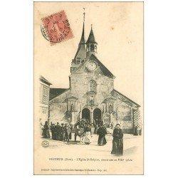 carte postale ancienne 27 BRETEUIL. Sortie Eglise Saint-Sulpice 1906