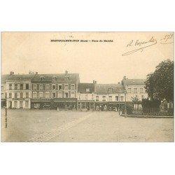 carte postale ancienne 27 BRETEUIL-SUR-ITON. Place du Marché 1904 Imprimerie et Epicerie du Cerf