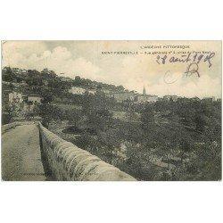carte postale ancienne 07 SAINT-PIERREVILLE. Le Pont Neuf 1905