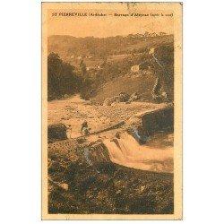 carte postale ancienne 07 SAINT-PIERREVILLE. Ouvriers au Barrage d'Aleyrac . En état...