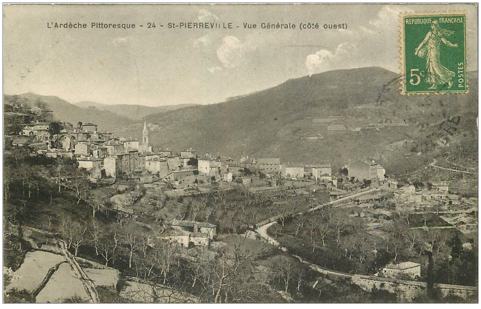 carte postale ancienne 07 SAINT-PIERREVILLE. Route du Village 1921