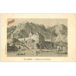 carte postale ancienne 07 TOURNON. Le Château. Publicité Maggi. Papier velin bords dentelés à la ficelle