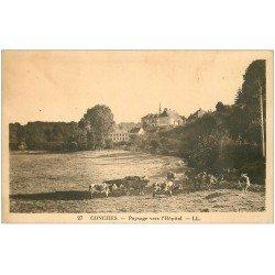 carte postale ancienne 27 CONCHES. L'Hôpital et Vaches au Pré 1940