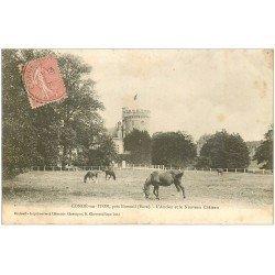 carte postale ancienne 27 CONDE-SUR-ITON. Château et Chevaux 1905