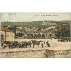 carte postale ancienne 27 EVREUX. Chevaux Quartier d'Artillerie 1904