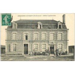 carte postale ancienne 08 AMAGNE-LUCQUY. Hôtel de la Gare Laplanche et Buvette Billard