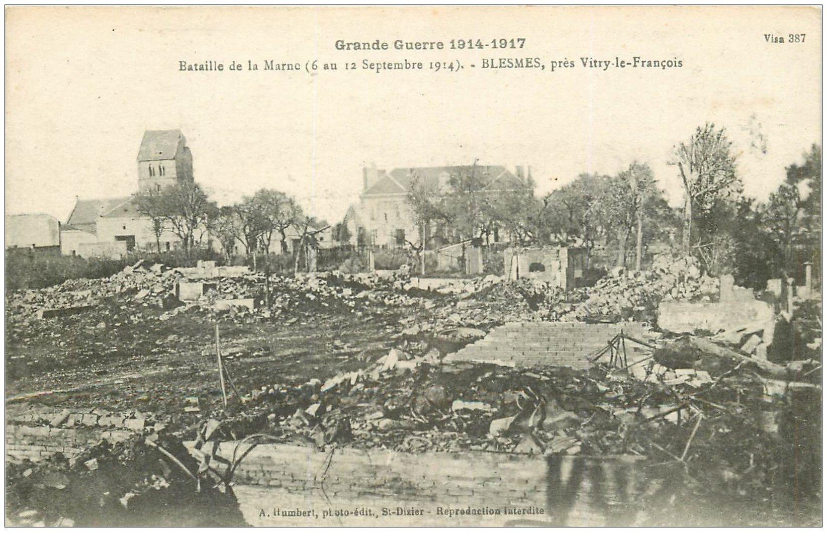 carte postale ancienne 02 BLESMES. Bataille de la Marne 1914-18