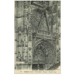 carte postale ancienne 27 GISORS. Cathédrale Rosace Portail
