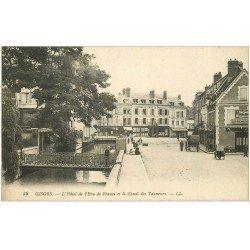 carte postale ancienne 27 GISORS. Hôtel Ecu de France et Canal des Tanneurs et Café du Commerce