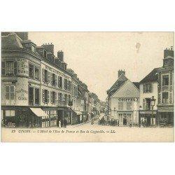 carte postale ancienne 27 GISORS. Hôtel Ecu de France rue de Cappeville et Coiffeur