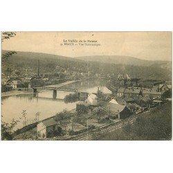 carte postale ancienne 08 BRAUX. Vue Pont et ligne du Chemin de Fer. Usines 1919 (défaut)...