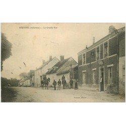 carte postale ancienne 08 BRIENNE. Gendarmes cavaliers sur la Grande Rue 1908 A la Poire d'Or