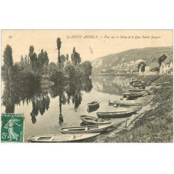carte postale ancienne 27 LES ANDELYS. Barques Quai Saint-Jacques