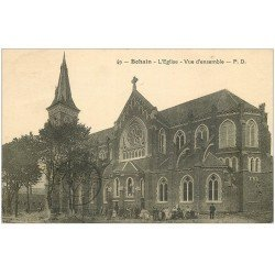 carte postale ancienne 02 BOHAIN. L'Eglise 1931. Animation