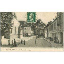 carte postale ancienne 27 LES ANDELYS. Grande Rue 1924 Hôtel Chaine d'Or et Café des Lilas