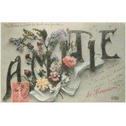 carte postale ancienne 27 LOUVIERS. Amitié 1907 Fleurs et ruban. Pour Dunkerque