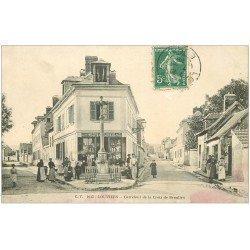 carte postale ancienne 27 LOUVIERS. Carrefour Croix de Beaulieu 1908 Epicerie