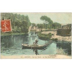 carte postale ancienne 27 LOUVIERS. Chasseurs en barque près Pont Noir 1906. Petit timbre RF 20 centimes